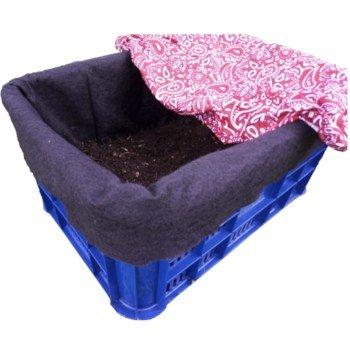 Compostera de caja forrada con tapa de tela