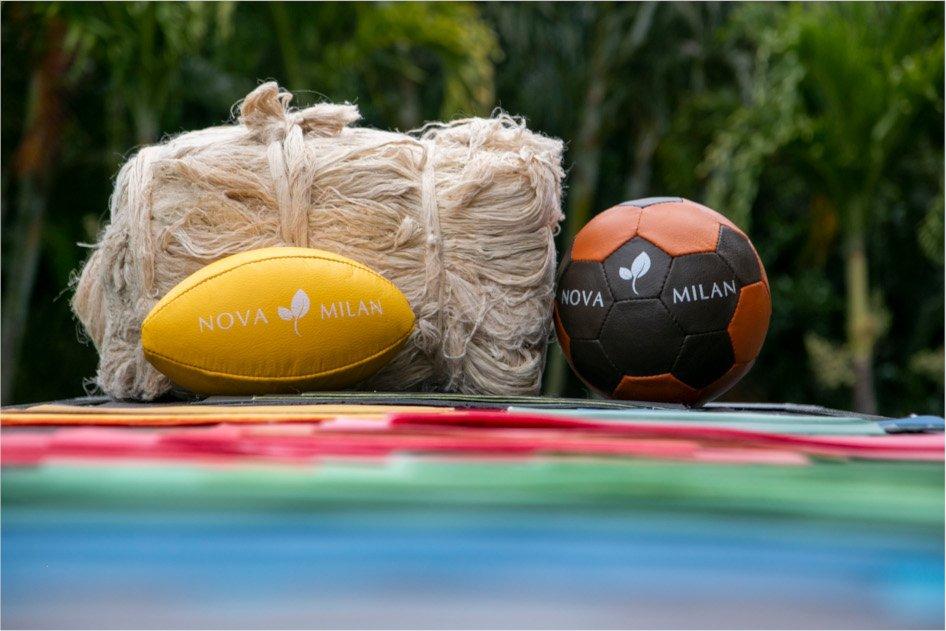 Balones de futbol y fibra de vegetal