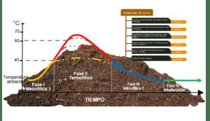 Gráfico y diagrama sobre el compost y el compostaje